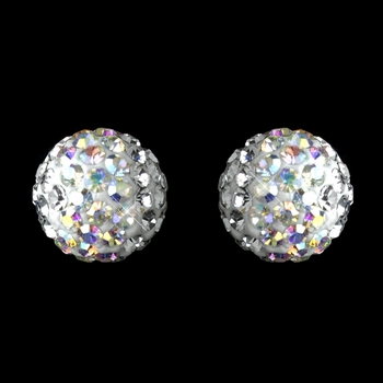 Silver White AB Pave Ball Encrusted Earrings 40721