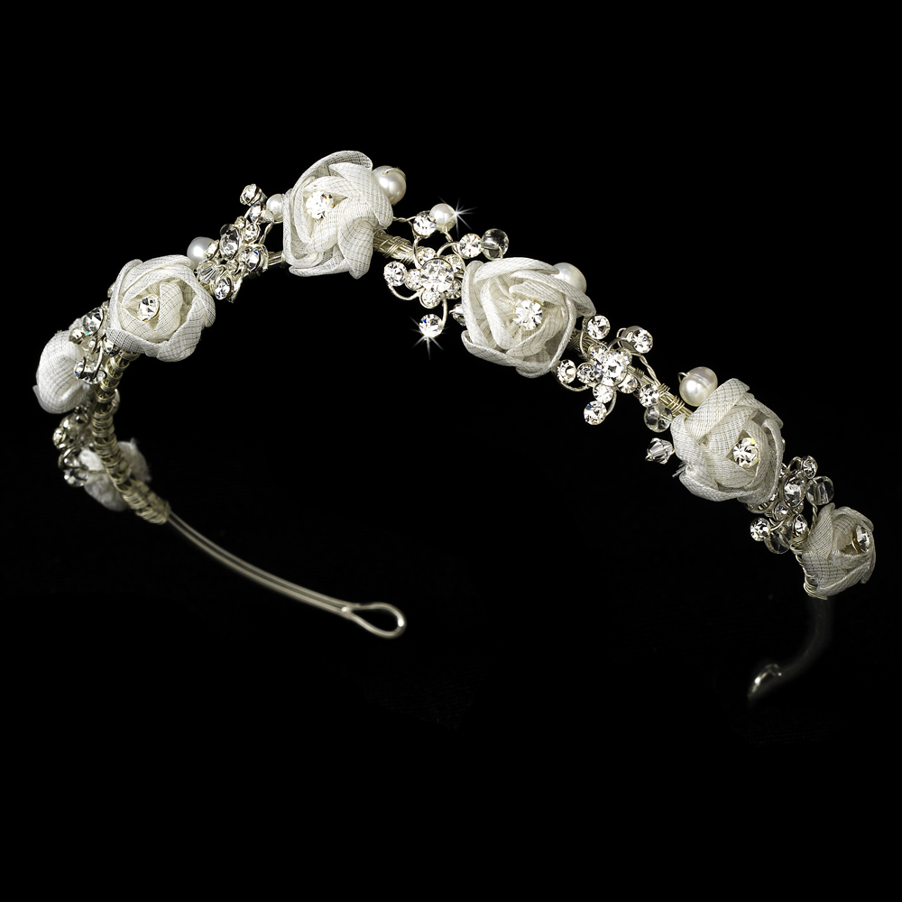 Silver White Bridal Headband HP 2322 f14139d837a