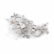 Silver White Enameled Flower Bridal Wedding Hair Comb w/ Rhinestones & Freshwater Pearls 3812
