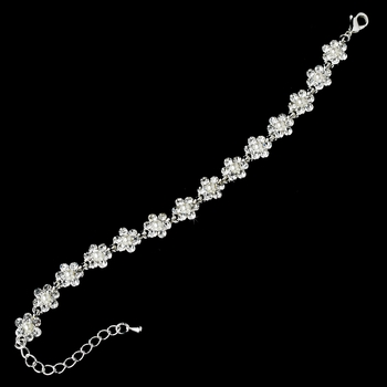 Silver White Flower Pearl Bracelet 156 **Discontinued**