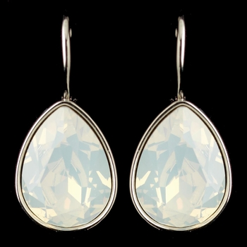 Silver White Opal Swarovski Crystal Element Teardrop Leverback Earrings 9602