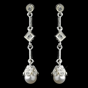 Silver White Pearl & CZ Dangle Earrings
