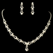 Silver White Pearl Necklace Earring Set NE 228