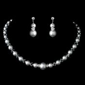 Silver White Pearl Necklace & Earrings Jewelry Set 8424