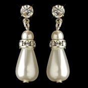 Silver White Pearl & Rhinestone Dangle Earrings 8828