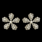 Silver White Pearl & Rhinestone Flower Stud Earrings 4106
