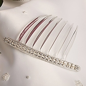 Silver with Clear Stones Hair Accent Comb-9001
