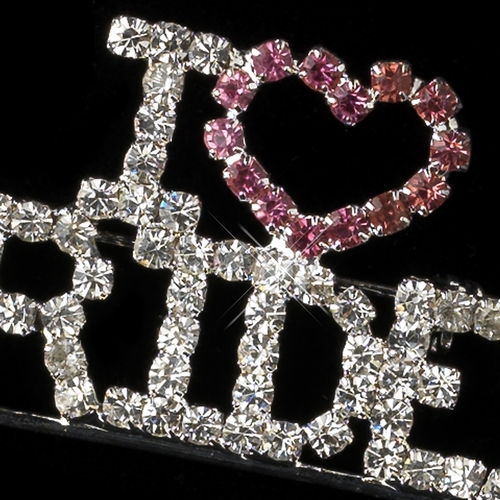"""Silver with Pink and Clear Rhinestones """" I Love Brides """" Rhinestone Brooch 9013***Discontinued***"""