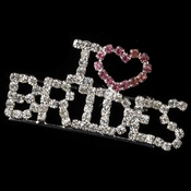 "Silver with Pink and Clear Rhinestones "" I Love Brides "" Rhinestone Brooch 9013***Discontinued***"