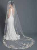 Single Layer Bridal Wedding Cathedral Length Veil w/Ivory Floral Embroidery Accented w/ Crystals, Pearls & Sequins V 1174 1C