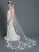 Single Layer Bridal Wedding Cathedral Veil w/ Rose Floral Applique w/ Sequiins, Beads & Rhinestones V 1167 1C