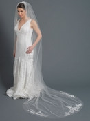 Single Layer Bridal Wedding Cathedral Veil Accented w/ Embrodiered Lace & Rhinestones Veil 3434 1C