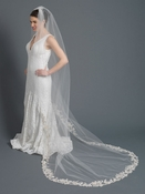 Single Layer Bridal Wedding Cathedral Veil Accented w/ Rum Pink Embrodiered Lace & Rhinestones 3481 1C