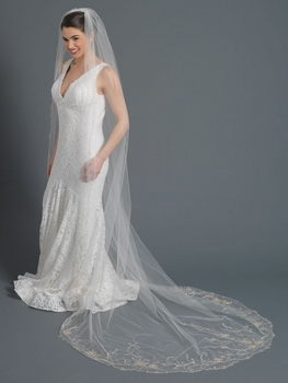 Single Layer Bridal Wedding Cathedral Veil Accented w/ Silver/Gold Embrodiered Lace & Rhinestones & Bugle Beads V 3507 1C