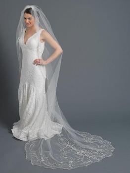 Single Layer Ivory Bridal Wedding Cathedral Veil w/ Beads, Rhinestones, Crystals & Sequins Dainty Pearls V 1163 1C
