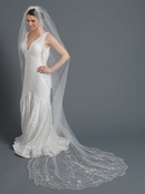 Single Layer Bridal Wedding Cathedral Veil w/ Beads, Rhinestones, Crystals & Pearl accents V1163 1F