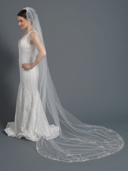 Single Layer Bridal Wedding Cathedral Veil w/ Light Silver Floral Embroidery Accented w/ Rhinestones & Beads V 1164 1C