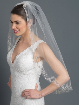 Single Layer Bridal Wedding Fingertip Veil 1166 w/ Silver Floral Rose Embroidery w/ Sequiins, Bugle Beads