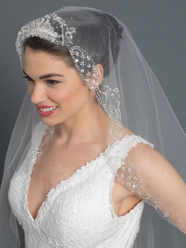 Single Layer Bridal Wedding Fingertip Veil w/ Beads, Rhinestones, Crystals, Pearls & Sequins Veil V 1161 1F