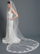 Single Layer Cathedral Length Accented with Embroidery Lace Bridal Wedding Veil 1184 1C
