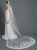 Single Layer Cathedral Length Ivory Accented with Embroidery Lace Bridal Wedding Veil 1185 1C