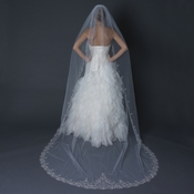 Single Layer Cathedral Length Scalloped Edge Veil with Swirly Embroidery V 1568 1C