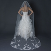 Single Layer Cathedral Length Cut  Edge Veil Ivory with Floral Lace Embroidery V 1141 1C
