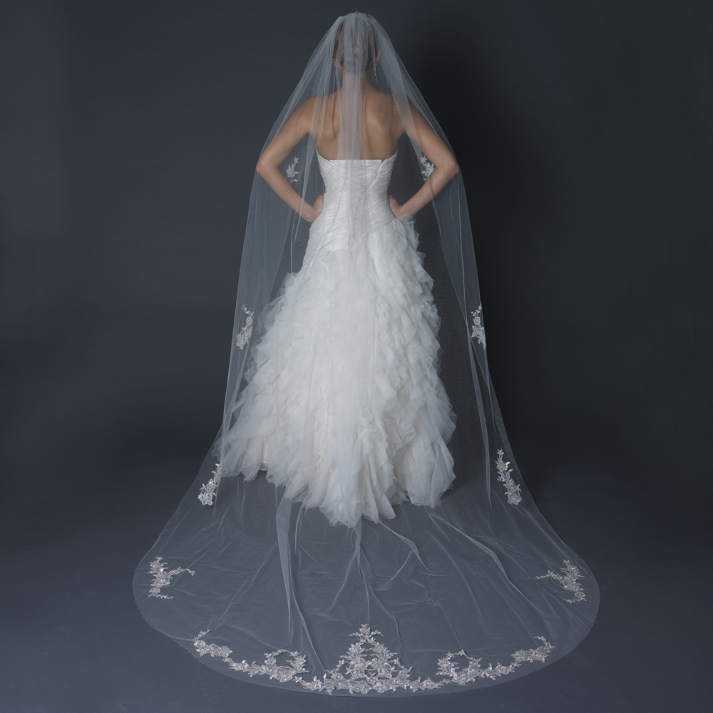 Single layer cathedral length cut edge veil with floral