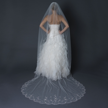 Single Layer Cathedral Length Scalloped Cut Edge Ivory Veil with Swirly Beaded Embroidery & Sequins V 1134 1C