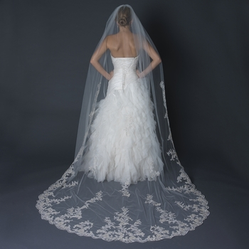 Single Layer Cathedral Length Scalloped Edge Veil with Floral Lace Embroidery V 1139 1C