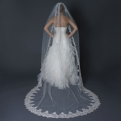 Single Layer Cathedral Length Scalloped Edge Ivory Veil with Floral Lace Embroidery V 1140 1C