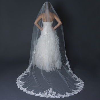Single Layer Cathedral Length Scalloped Edge Ivory Veil with Floral Lace Embroidery V 1147 1C
