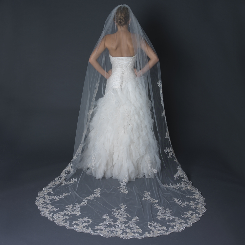 Single Layer Cathedral Length Scalloped Edge Veil With