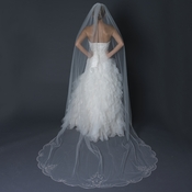 Single Layer Cathedral Length Scalloped Edge Ivory Veil with Swirly Lace Embroidery & Rhinestones V 1144 1C