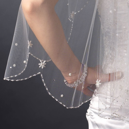 Single Layer Elbow Length Scalloped Edge with Pearls, Floral Sequins & Bugle Beads Veil 120 1E**Discontinued***