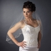 Single Layer Elbow Length Scalloped Edge with Silver Stiching & Sequins Veil 3156 1E