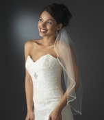 Single Layer Elbow Length Veil with Sparkling Pearl & Crystal Edge 118