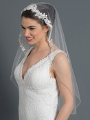 Single Layer Fingertip Bridal Wedding Veil 29681F w/ Floral Lace Accent w/ Beaded & Sequin Accent