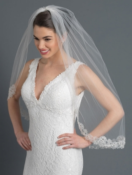Single Layer Fingertip Bridal Wedding Veil 2997 1F W/ Floral Embroidery Beads, Sequins & Rhinestones
