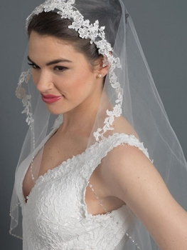 Single Layer Fingertip Bridal Wedding Veil w/ Floral Lace Accent w/ Beaded & Sequin Accent V 2968 1F