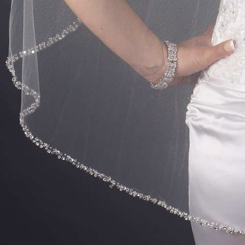 Single Layer Fingertip Length Beaded Edge with Bugle Beads & Swarovski Crystals Veil 2592 1F
