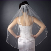 Single Layer Fingertip Length Bridal Veil with Silver Sequin & Bugle Bead Edge V 1040 1F