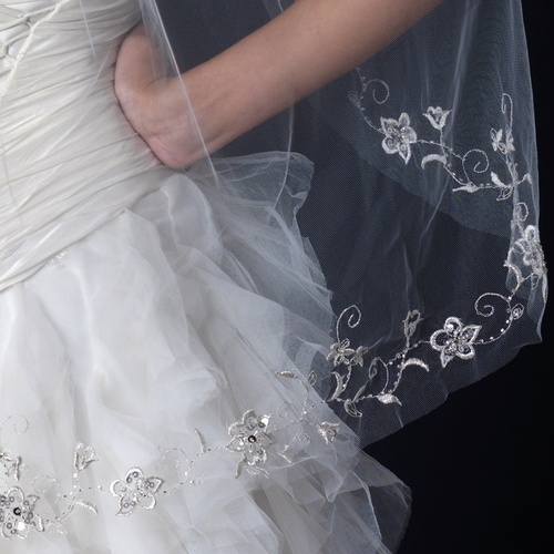 Single Layer Fingertip Length Cut Edge Veil with Floral Embroidery, Bugle Beads & Sequins V 1044 1F ***Discontinued***