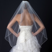 Single Layer Fingertip Length Cut Edge Bridal Veil with Pearls & Beads V 1136