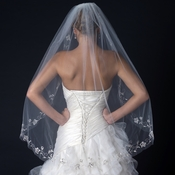Single Layer Fingertip Length Cut Edge Veil with Floral Embroidery, Bugle Beads & Sequins V 1044 1F