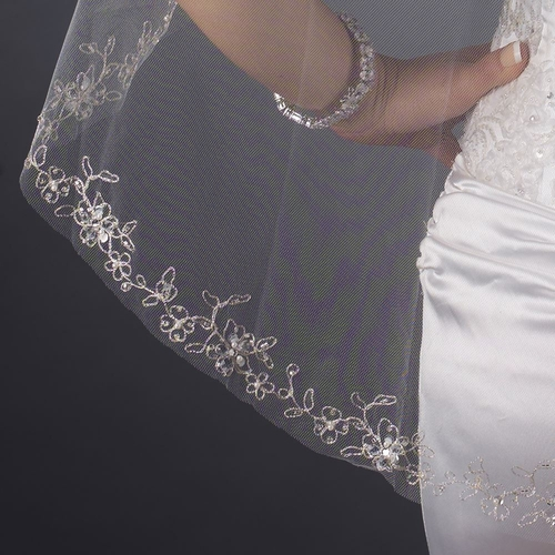 Single Layer Fingertip Length Cut Edge with Floral Embroidery, Pearls, Bugle Beads & Sequins Veil 2543 1F
