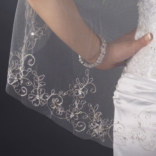 Single Layer Fingertip Length Cut Edge with Floral Embroidery, Pearls, Bugle Beads & Sequins Veil 2544 1F