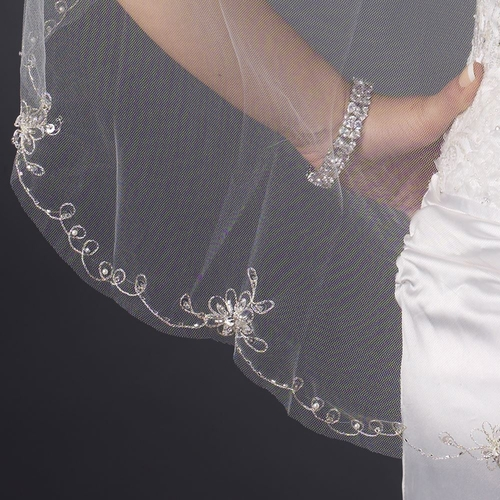 Single Layer Fingertip Length Cut Edge with Floral Embroidery, Pearls, Rhinestones, Bugle Beads & Sequins Veil 2581 1F