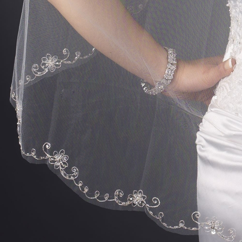 Single Layer Fingertip Length Cut Edge with Floral Embroidery, Rhinestones, Bugle Beads & Sequins Veil 2582 1F