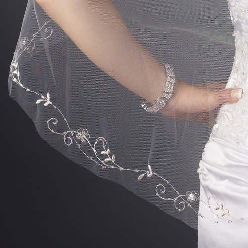 Single Layer Fingertip Length Cut Edge with Floral Vine Embroidery, Bugle Beads & Sequins Veil 2537 1F